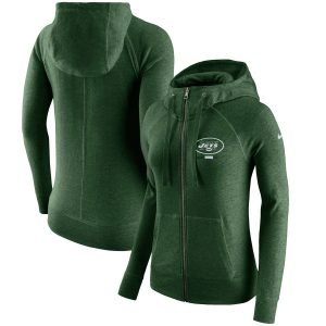 New York Jets Nike Women's Gym Vintage Full-Zip Hoodie